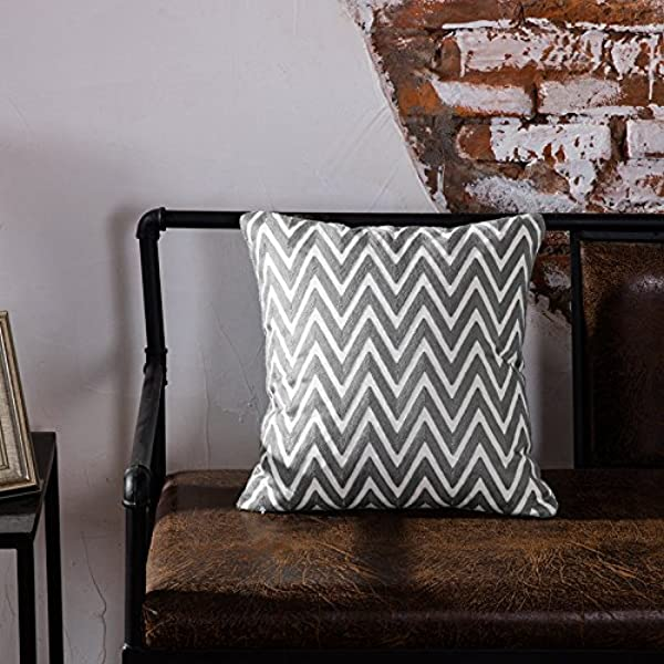 TAOSON Dark Grey Gray And White Chevron Zigzag Geometric Pattern Cotton Canvas Embroidered Cushion Cover Pillowcase Cushion Shell Decor Square With Hidden Zipper Closure Only Cover 18 X18 45x45cm