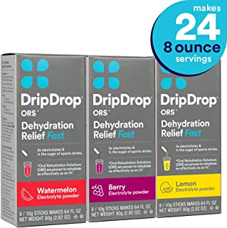 DripDrop ORS Dehydration Relief Fast Electrolyte Powder Sticks, Watermelon, Berry, Lemon Flavor Variety 3-Pack, Makes (24) 8oz Servings
