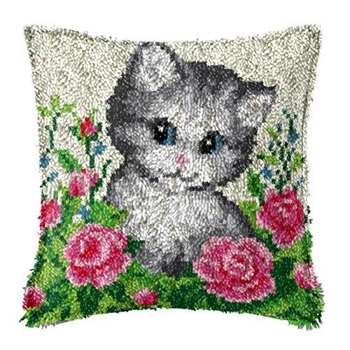 DIY Latch Hook Kits Kuddöverdrag, blommor kattdjur tryckta virkade handarbete hantverk för barn vuxna, 17x17 tum korsstygn