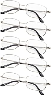 5-Pack Reading Glasses with Bridge-flex Memory Titanium and Spring Hinges