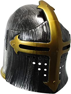 Child Medieval Templar Knight Helmet Costume Headwear, Silver, One Size