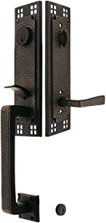 Arts & Crafts Style Tubular Handleset in Oil Rubbed Bronze with Left Hand Hammered Levers and 2 3/8