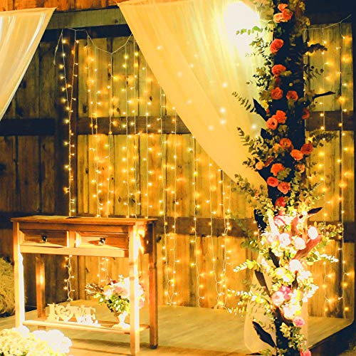 300 LED Curtain Lights with Adapter, 10 Strands, 6.5 ft x 9.8 ft, UL Adapter with 8 Light Modes