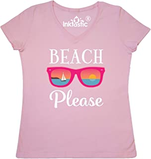 inktastic Beach Please Sunglasses Gift Women's V-Neck T-Shirt