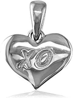 Sziro Hearts Jewelry Small X O Engraved Heart Charm in Sterling Silver