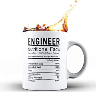 Shop4Ever Graduation Gift for Engineer ~ Engineer Nutritional Facts Ceramic Coffee Mug ~ Birthday Gift For New Engineer