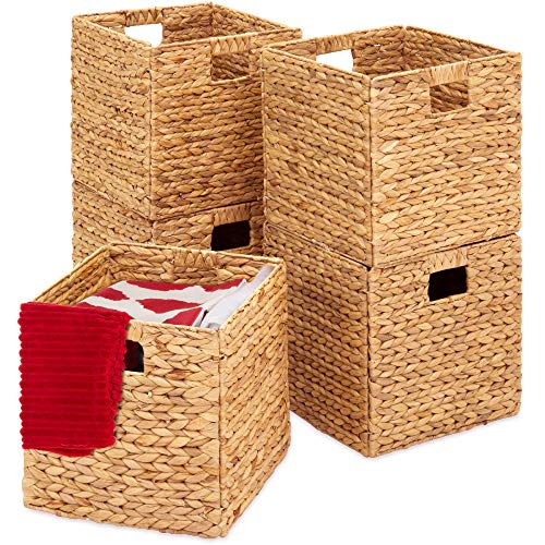 Best Choice Products Rustic Set Of 5 Multipurpose Collapsible Hyacinth Storage Basket, Handwoven Laundry Organizer Totes for Bedroom, Living Room, Bathroom, Shelves, Pantry w/Insert - Natural