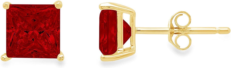 Clara Pucci 4.0 ct Brilliant Princess Cut Solitaire VVS1 Flawless Natural Red Garnet Gemstone Pair of Stud Earrings Solid 18K Yellow Gold Push Back