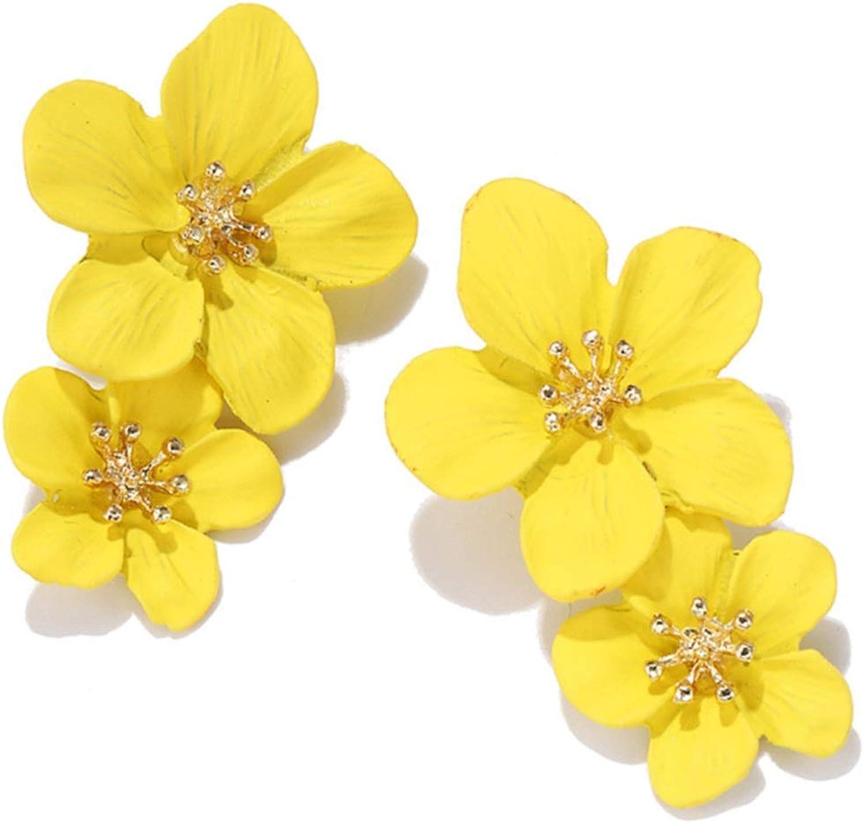 Elegant Large Metal Double Luster Matte Flower Earrings Chic Statement Dangle Drop Flowers Wedding Earrings for Women Girls Teens Anniversary Friendship Exquisite Jewelry Gifts