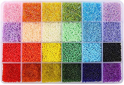 26400pcs 2mm Glass Seed Beads 24 Colors Loose Beads Kit Bracelet Beads with 24-Grid Plastic Storage Box for Jewelry Making