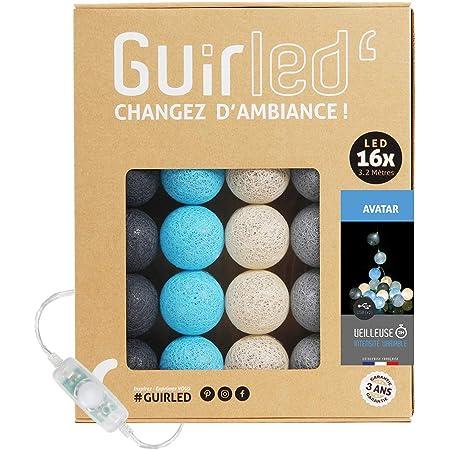 T/él/écommande sans fil Guirlande lumineuse boules coton LED USB 16 boules 4 intensit/és B/éb/é Chargeur double USB 2A inclus