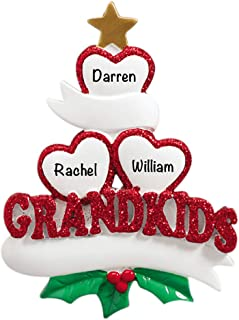 Grandkids Family of 3 Personalized Ornament - (Unique Christmas Tree Ornament - Classic Decor for A Holiday Party - Custom Decorations for Family Kids Baby Military Sports Or Pets)