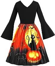 GREFER Women Long Sleeve Dress Vintage Pumpkins Evening Prom Costume Swing Dress Halloween Christmas St. Patrick's Day