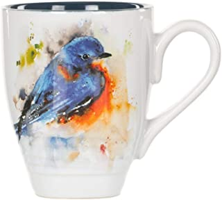 Dean Crouser Bluebird Watercolor Blue On White 16 Ounce Glossy Stoneware Mug With Handle