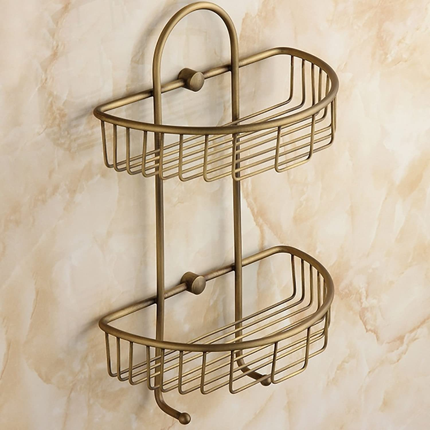 ZZHF yushizhiwujia Full Copper Creative Shelves Retro Bathroom Tripod Basket Bathroom Wall Storage Rack