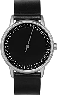 slow round 02 - Black Leather, Silver Case, Black Dial