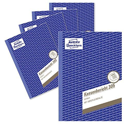 AVERY Zweckform 305-5 Kassenbericht (A5, mikroperforiert, von Rechtsexperten geprüft, für Deutschland und Österreich zur ordnungsgemäßen, kostengünstigen Buchführung, 50 Blatt) 5er Pack weiß