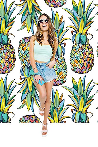 Removable Wallpaper Mural Peel & Stick Pattern with Pineapples (25W x 100H Inches)