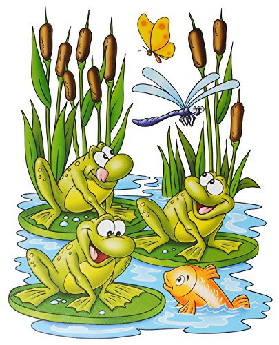 alles-meine.de GmbH 1 Bogen: Fensterbild - lustige Tiere - Frosch - Teddy auf der Insel - Seepferd - Schmetterling - Sticker Fenstersticker / z.B. für Fenster und Spiegel - stati..