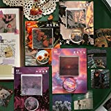 XXCKA Pegatinas + Washi Tape Set Película Color Fotografía Estilo Pegatinas Scrapbooking Material Decorativo Papelería estética 40 Uds