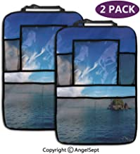 Fashion Backseat Car Organizer,Small Island in Trat Archipelago Thailand Reef Rock Diving Trip Sunny Day Landscape Blue Green,19.3x27.2inch,Car Seat Protector Travel Accessories(2 Pack)
