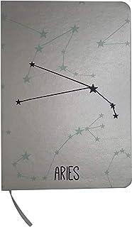 Fun Fan Line - Bloc-notes de signes du zodiaque en argent. Couverture rigide et élastique avec marque-page en tissu intégr...