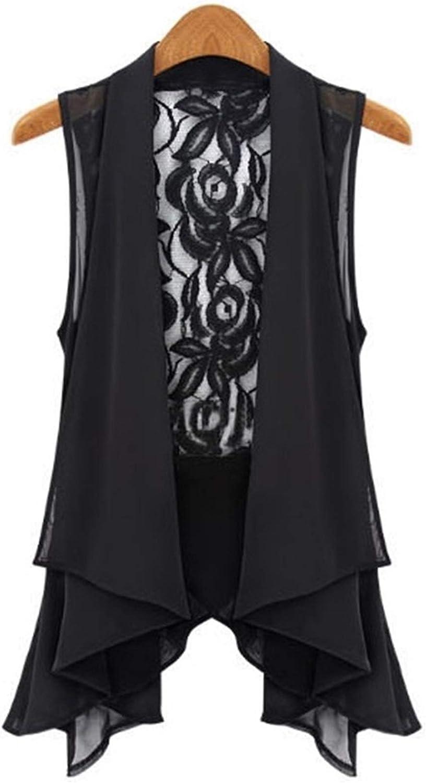Big Yards Chiffon Vest in The Long Section Chiffon Lace Vest Jacket (Color : Black, Size : 4XL.)