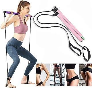 KISSOURBABY Yoga Exercise Resistance Band Pilates Stick Kit Portable Bodybuilding Pilates Stick