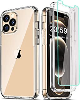 COOLQO Compatible for iPhone 12 Pro Max Case 6.7 Inch, with [2 x Tempered Glass Screen Protector] Clear 360 Full Body Cove...