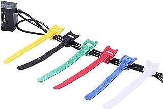 Corbata de cabello de nylon, 100pcs / set TTYPE Velcro Cable Lazo de cable Cable Reutilizable Cable de cable 15 * 1.2cm Da...