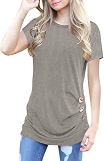 TWGONE Short Sleeve Tunics for Women to Wear with Leggings Loose Button Trim Blouse Solid Color Round Neck T-Shirt