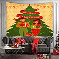 サンタクロースの壁掛けタペストリーアートネイチャーの家の装飾が施された壁のタペストリー、テーブルクロスのリビングルームの寝室の装飾クリスマスの背景シーン、家の装飾,7,100*70CM