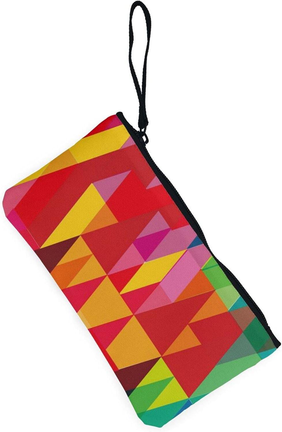 AORRUAM Triangular colorful geometric Canvas Coin Purse,Canvas Zipper Pencil Cases,Canvas Change Purse Pouch Mini Wallet Coin Bag