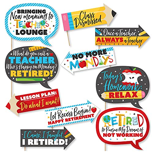 Big Dot of Happiness Funny Teacher Retirement – Happy Retirement Party Photo Booth Props Kit – 10 Piece
