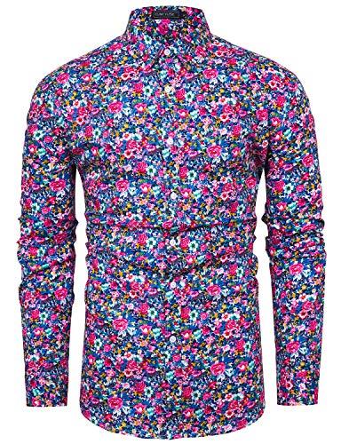 fohemr Camicia da Uomo a Maniche Lunghe, Motivo Floreale, 100% Cotone Button Down Camicia Stampa Floreale Rosa XX-Large