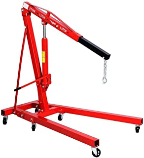CLIENSY 2 Ton Red Color 4400 lb Folding Engine Hoist Cherry Picker Shop Crane Lift
