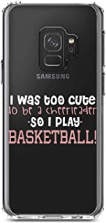 """DistinctInk Clear Shockproof Hybrid Case for Samsung Galaxy S9 (5.8"""" Screen) - TPU Bumper, Acrylic Back, Tempered Glass Screen Protector - Too Cute to Be a Cheerleader Play Basketball"""
