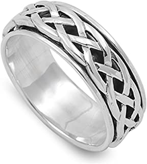 Prime Jewelry Collection Sterling Silver Women's Celtic Knot Spinner Ring (Sizes 4-14)