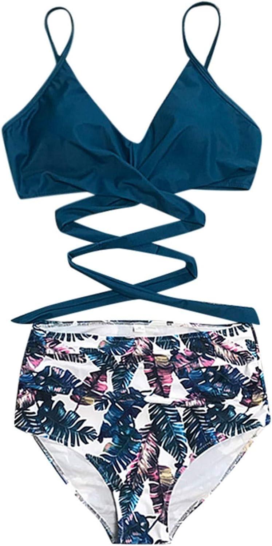 Tankini pour /ét/é//Plage de Sable//Nager Bikini Ensemble Plage Floral Slim Bresilien 2021 Nouveau Maillot de Bain Femme 2 Pieces Taille Haute Licou Vintage Push Up