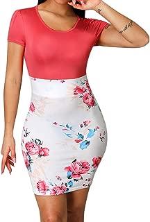 Bodycon Floral Mini Dress Skirts Women Short Sleeve V-Neck Party Dresses