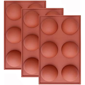 Large 6 Holes Semi Sphere Silicone Mold, Baking Mold for Making Chocolate, Cake, Jelly, Dome Mousse (3 Pcs)