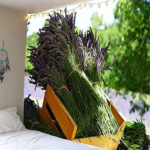 Tapiz de paisaje de lavanda Manta de pared Decoración para el hogar Fondo de arte Tapiz de tela Manta de tapiz que cubre la pared A31 150x200cm