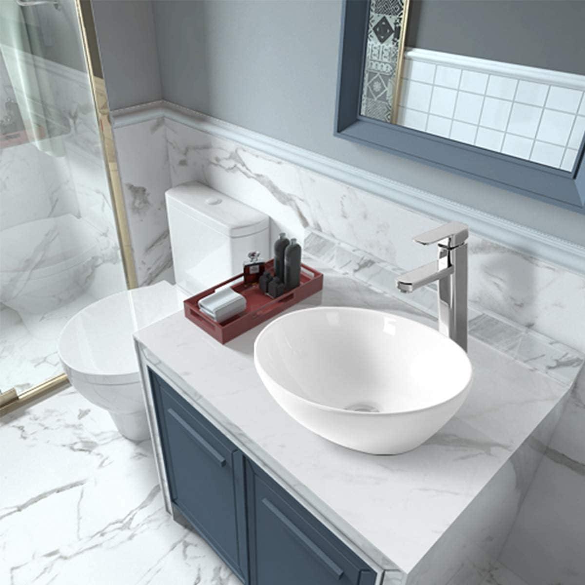 Buy Sinber 16 X 13 White Oval Ceramic Countertop Bathroom Vanity Vessel Sink Online In Taiwan B08t93frg6