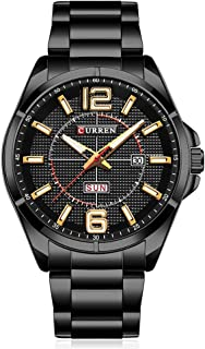 CURREN Men Watches Quartz Water Resistant Stainless Steel Watchband Wristwatches with Calendar 8271 (Black-Yellow)