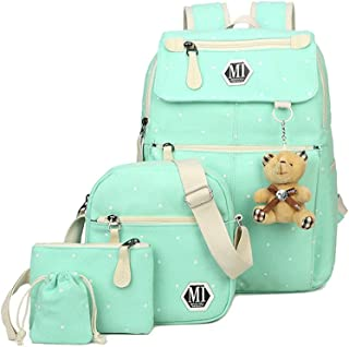 Fanci 4Pcs Polka Dot Women Canvas Casual Daypack for Girls Middle School Backpack Set