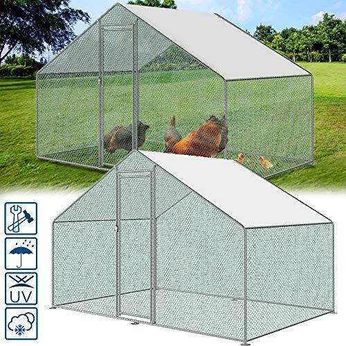 Froadp Cage à Poulet Enceinte d'extérieur Cadre en Acier Galvanisé avec Pare-soleil en PE et Serrure Poulailler Cage pour Animaux de Petits Animaux(3x2x2m)