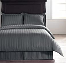Linenwalas Premium King Size Cotton Stripes Bedsheet with 2 Pillow Covers- Dark Grey