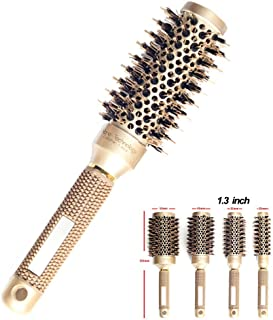 Round Brush for Blow Drying, Round Hair Brush, Nano Technology Thermal Ceramic Barrel Ionic Anti-Static Blowout Hairbrush with Boar Bristle, for Hair Styling, Curling Straightening, Volume & Shine