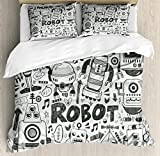 Ambesonne Robot Duvet Cover Set, Futuristic Space Doodle Style Androids Sci Fi Pattern Fantasy Machine Art Print, Decorative 3 Piece Bedding Set with 2 Pillow Shams, Queen Size, Pale Grey