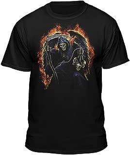 Fire Reaper Dark Fantasy Flaming Death Skulls T-Shirt